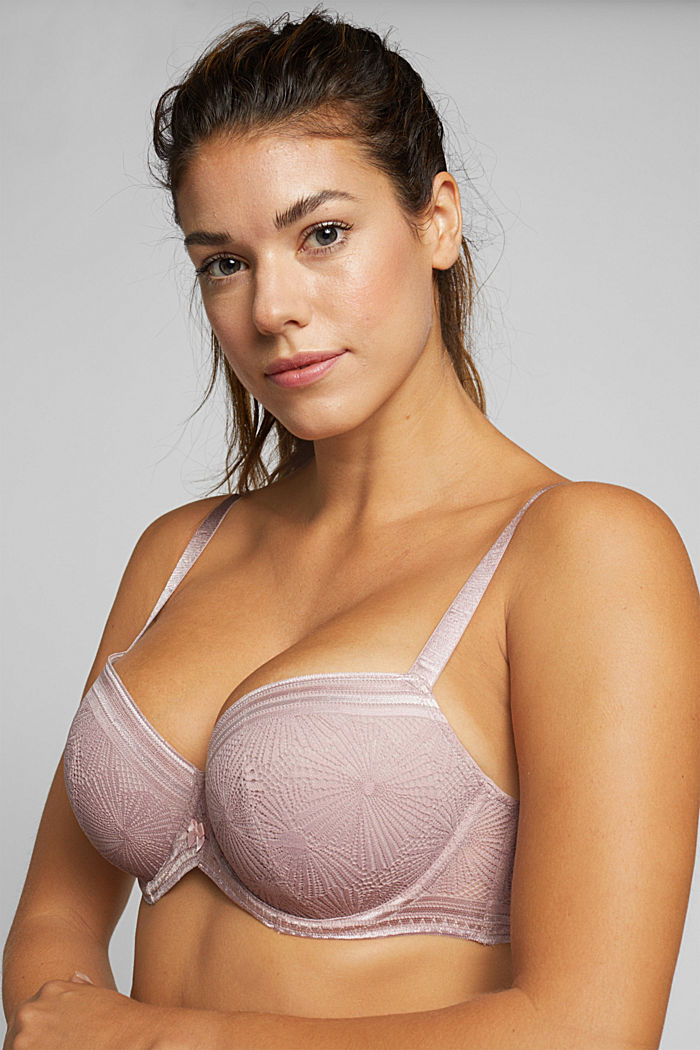 Recycled: Padded bra for larger cup sizes, OLD PINK, detail image number 0