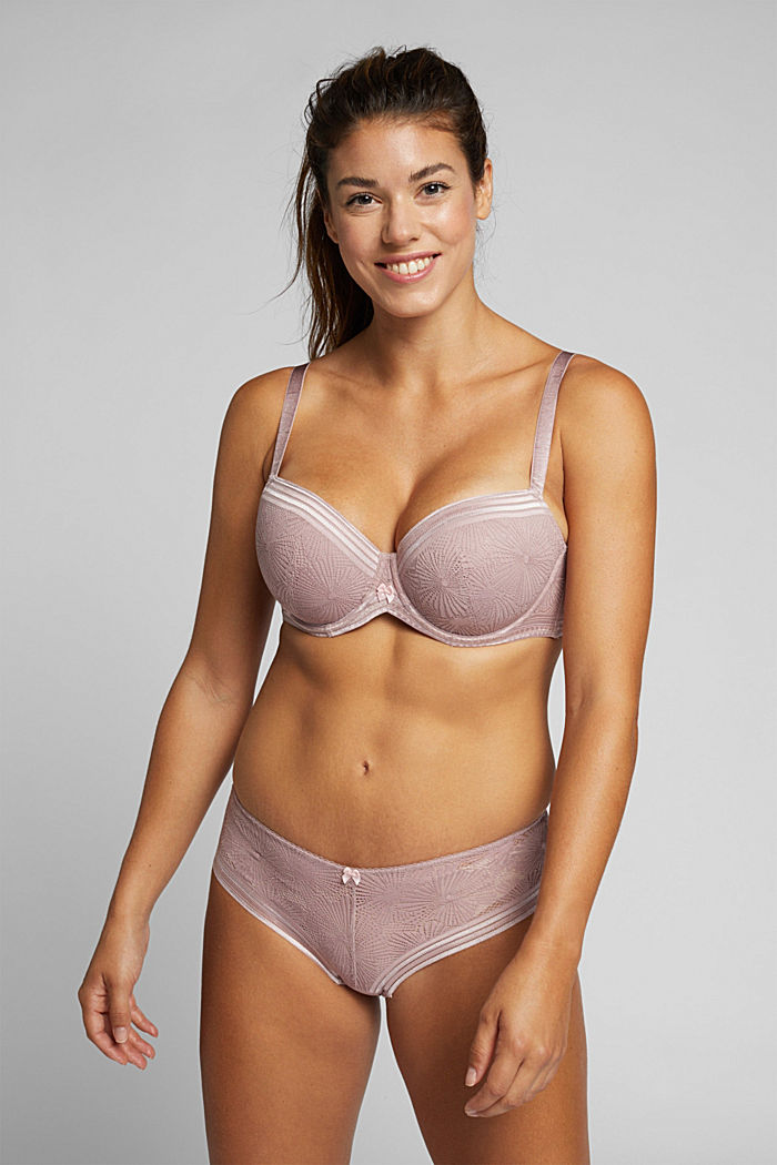 Recycled: Padded bra for larger cup sizes, OLD PINK, detail image number 2