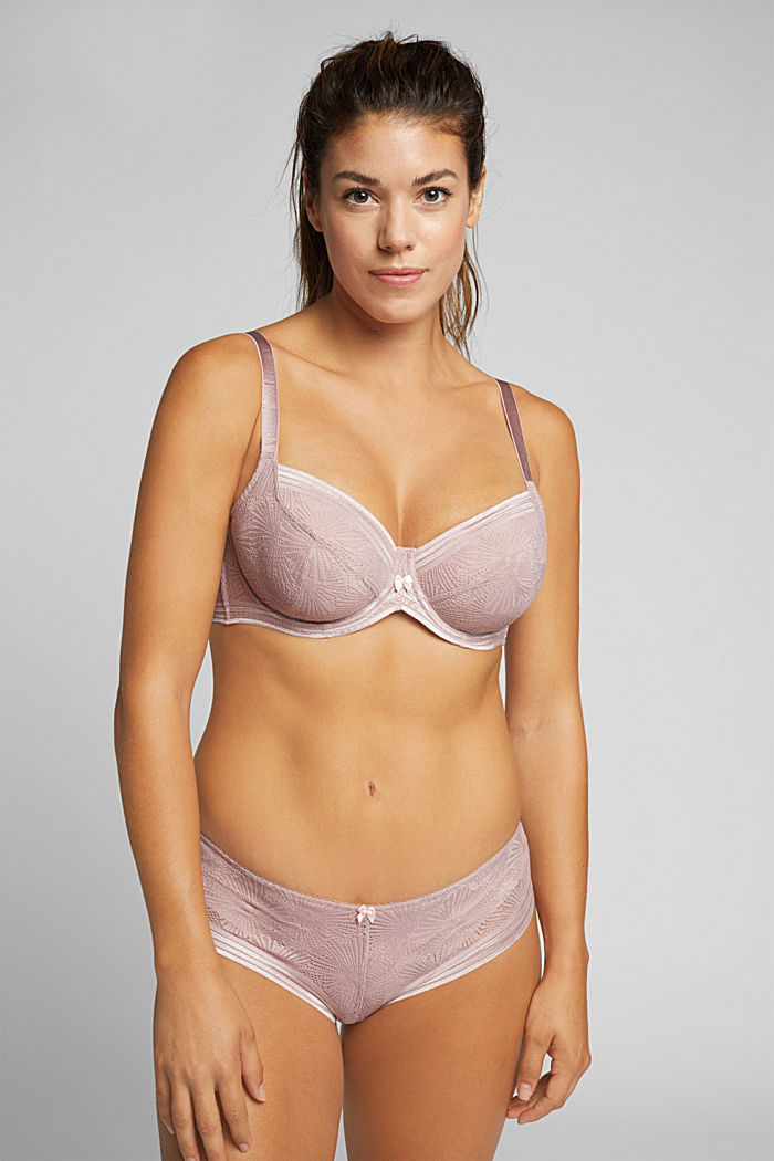 Recycled: Lace bra for larger cup sizes, OLD PINK, detail image number 2