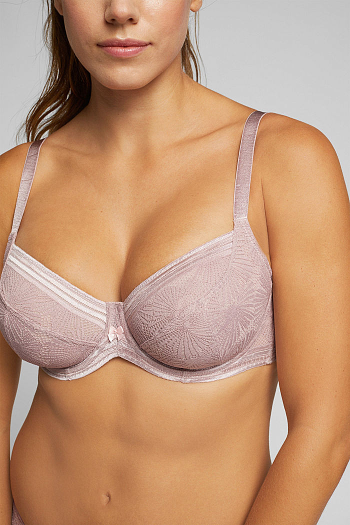Recycled: Lace bra for larger cup sizes, OLD PINK, detail image number 3