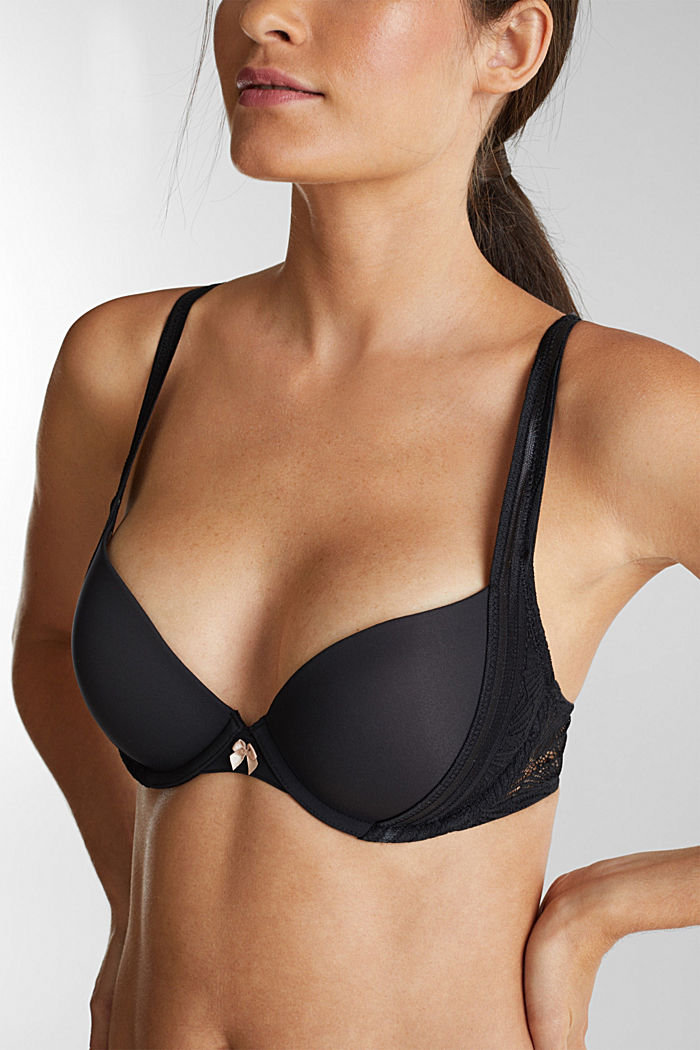 Recycled: push-up bra with lace, BLACK, detail image number 4