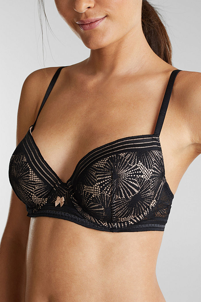 Recycled: padded underwire bra with lace, BLACK, detail image number 2