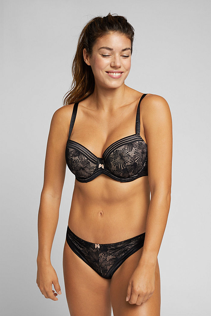 Recycled: Padded bra for larger cup sizes, BLACK, detail image number 0
