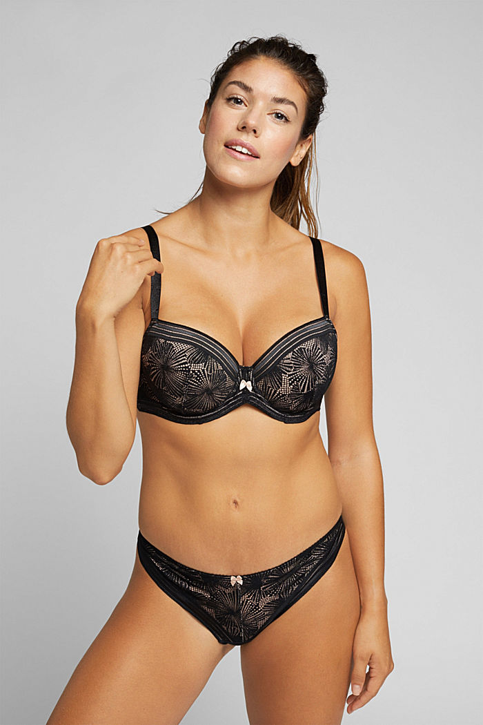 Recycled: Padded bra for larger cup sizes, BLACK, detail image number 2
