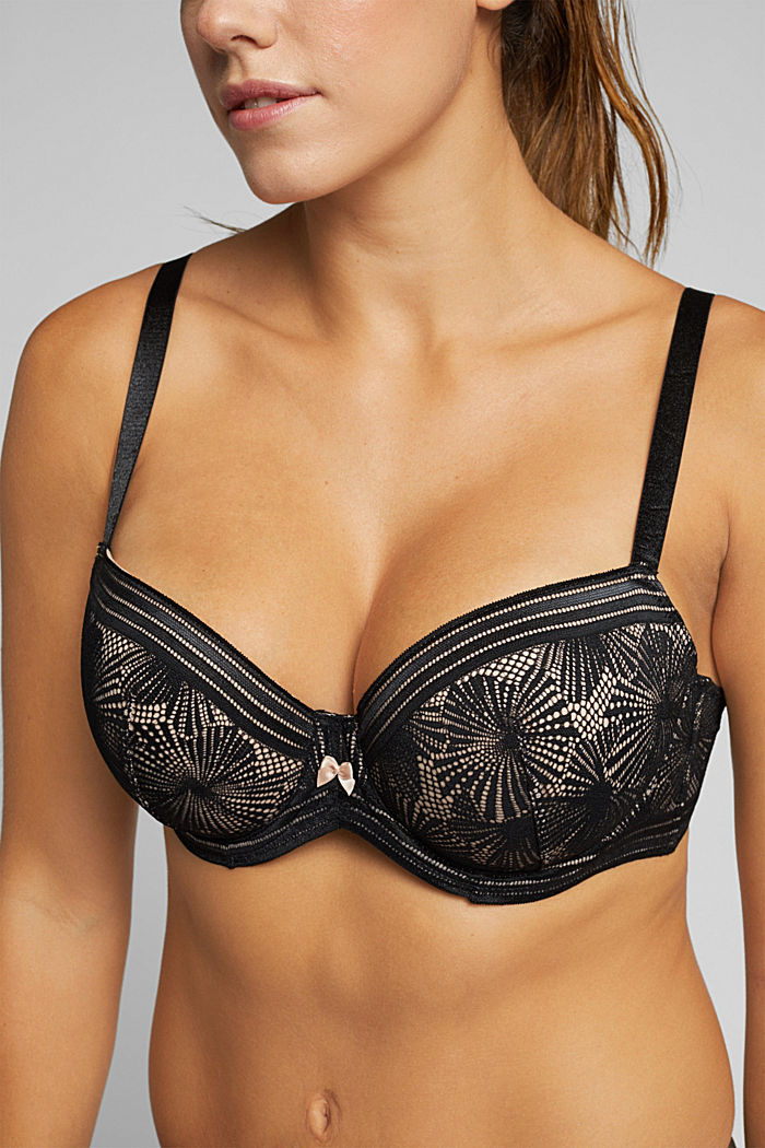 Recycled: Padded bra for larger cup sizes, BLACK, detail image number 3