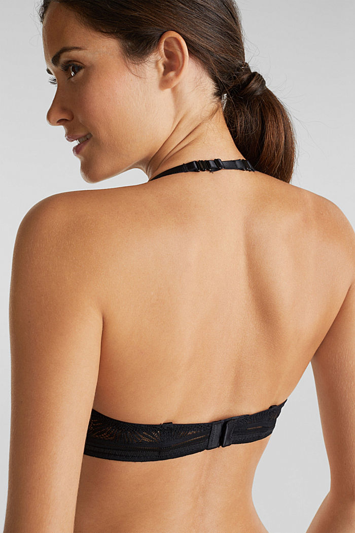 Recycled: padded underwire bra with lace, BLACK, detail image number 4