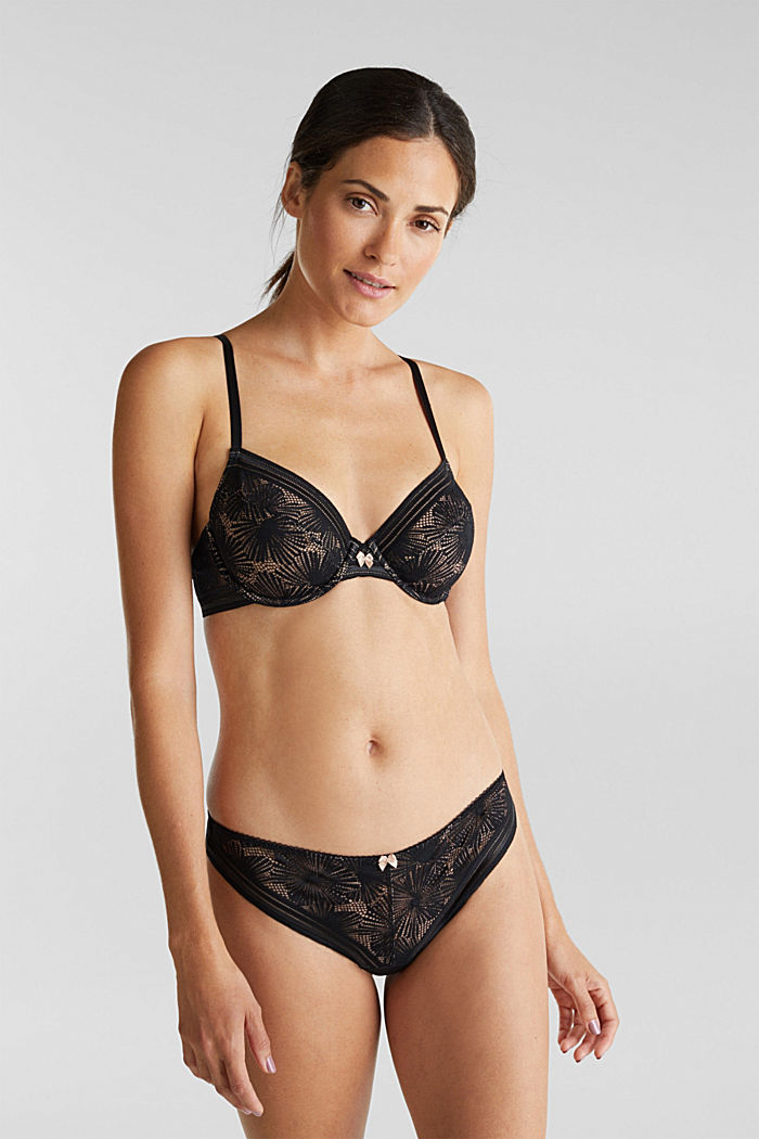 Recycled: underwire bra with lace, BLACK, detail image number 0