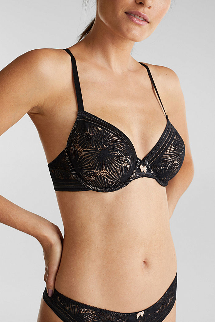 Recycled: underwire bra with lace, BLACK, detail image number 2