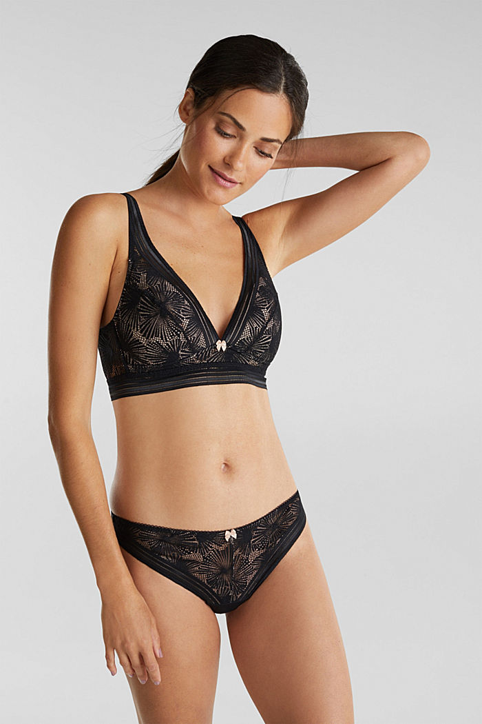 Recycled: Padded bra with lace, BLACK, detail image number 0
