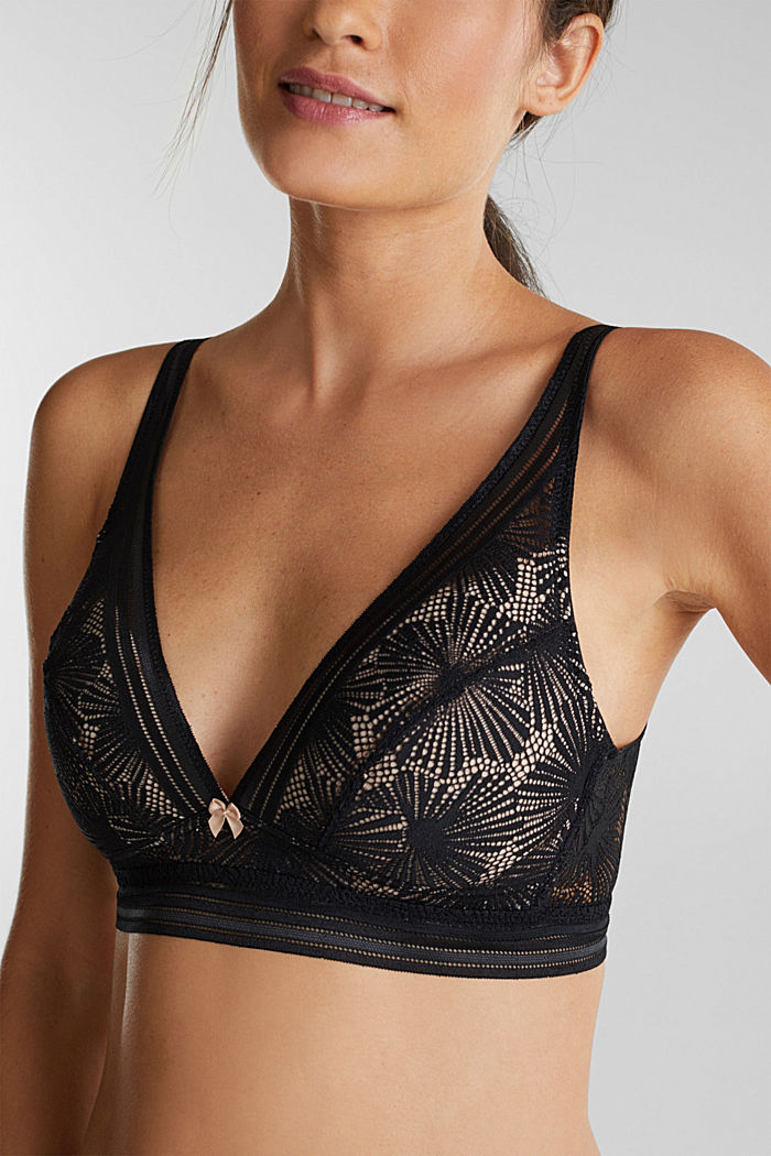Recycled: Padded bra with lace, BLACK, detail image number 2