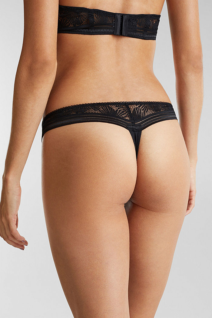 Recycled: hipster thong with lace, BLACK, detail image number 2