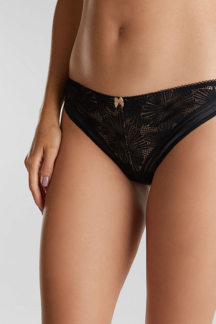 Recycled: hipster briefs with lace, BLACK, detail image number 1