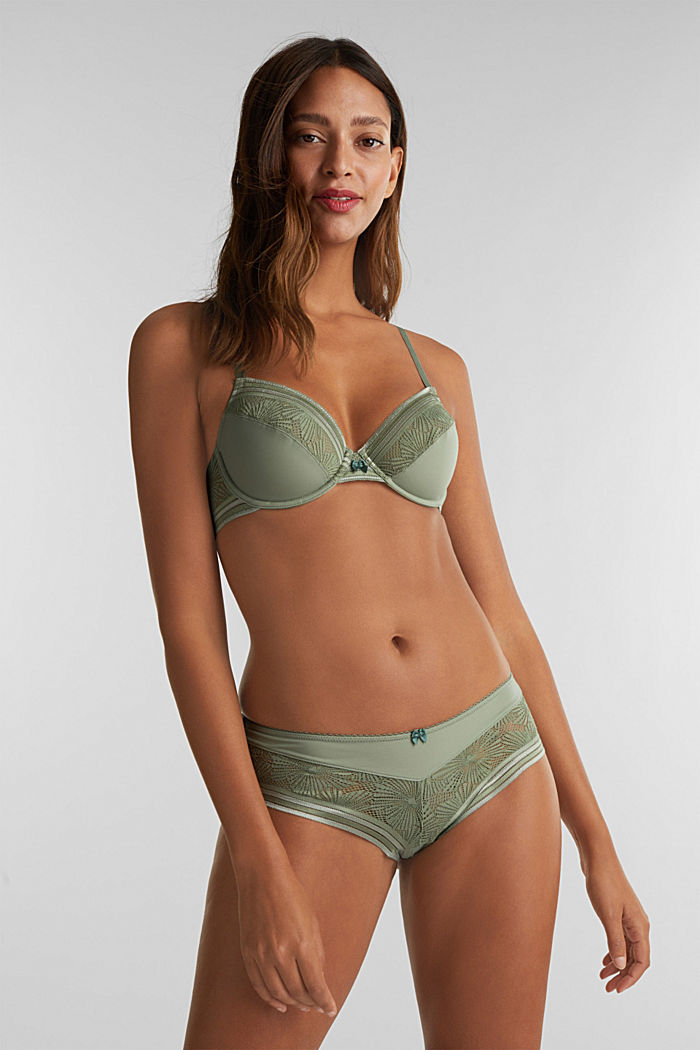 Unpadded underwire bra with lace, LIGHT KHAKI, detail image number 0