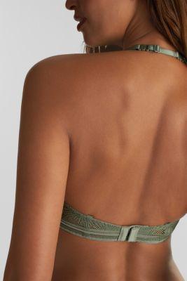 Unpadded underwire bra with lace, LIGHT KHAKI, detail