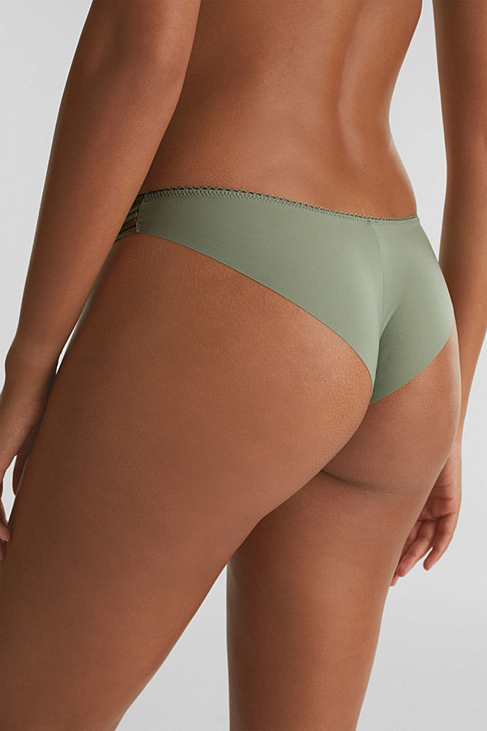 Brazilian hipster briefs with lace, LIGHT KHAKI, detail image number 3