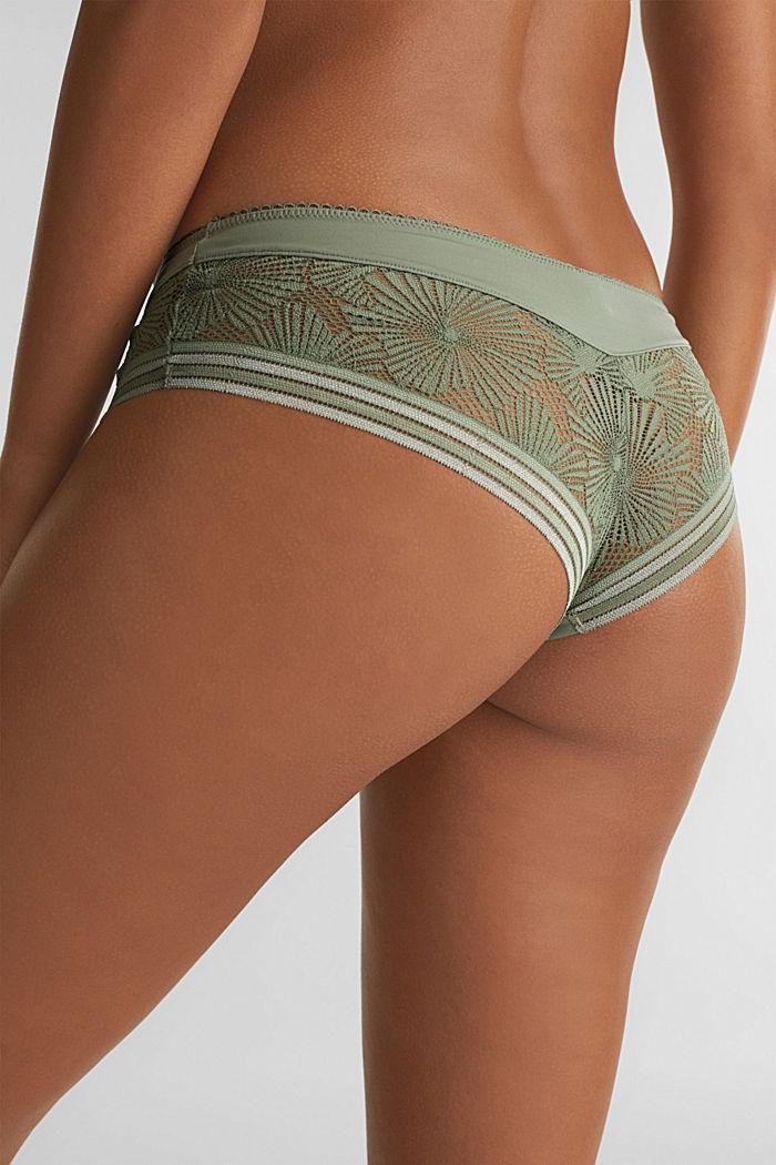 Brazilian hipster shorts in geometric lace, LIGHT KHAKI, detail image number 3