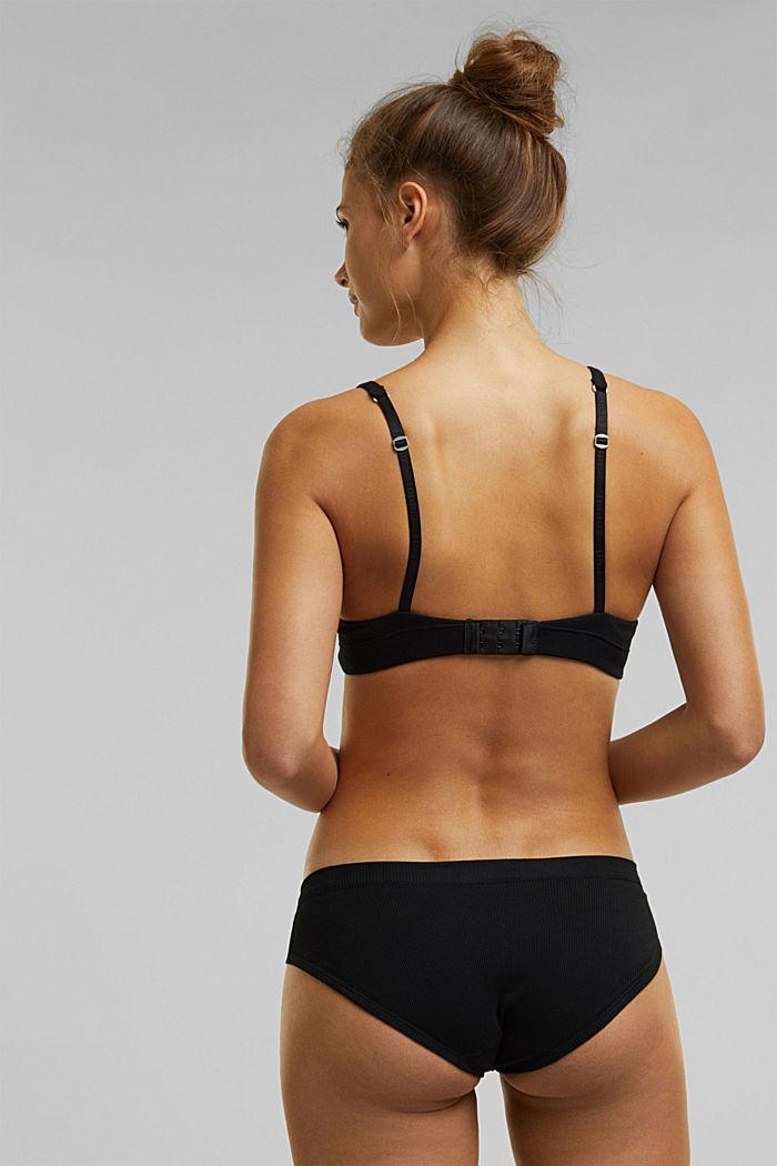 Padded, underwire jersey bra, organic cotton, BLACK, detail image number 1