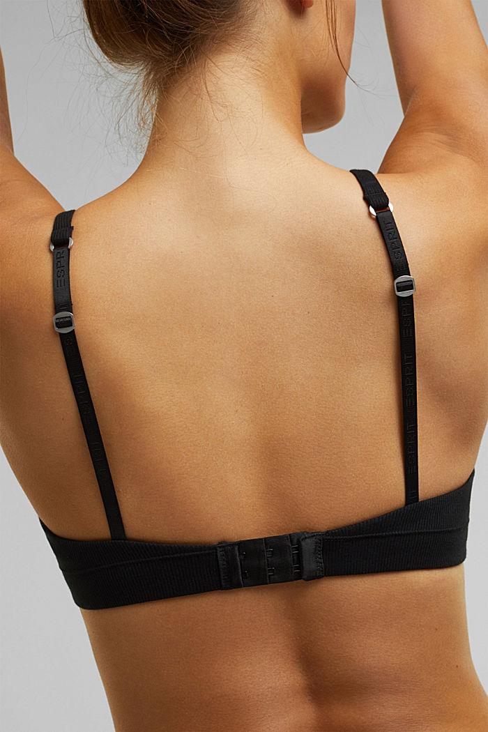 Padded, underwire jersey bra, organic cotton, BLACK, detail image number 3