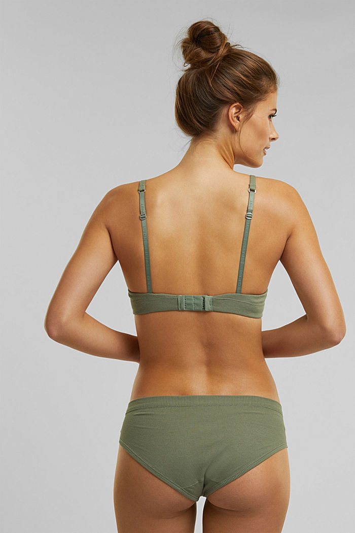Padded, underwire jersey bra, organic cotton, LIGHT KHAKI, detail image number 1