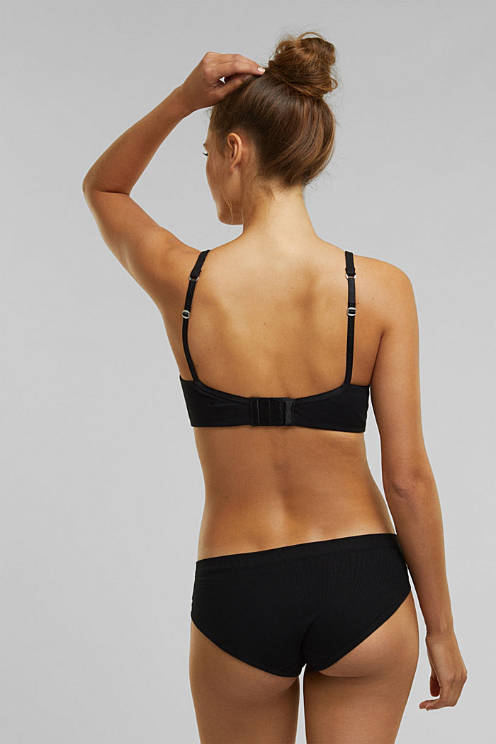 Padded, non-wired jersey bra, organic cotton, BLACK, detail image number 1