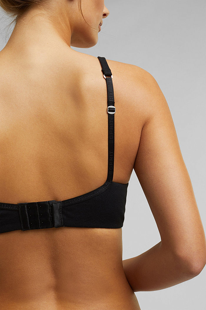 Padded, non-wired jersey bra, organic cotton, BLACK, detail image number 3