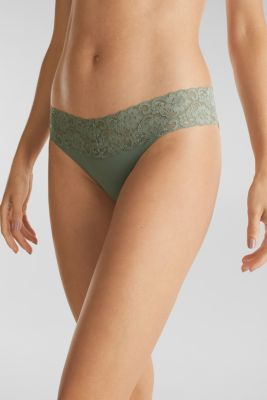 Double pack of hipster briefs trimmed with lace, LIGHT KHAKI, detail