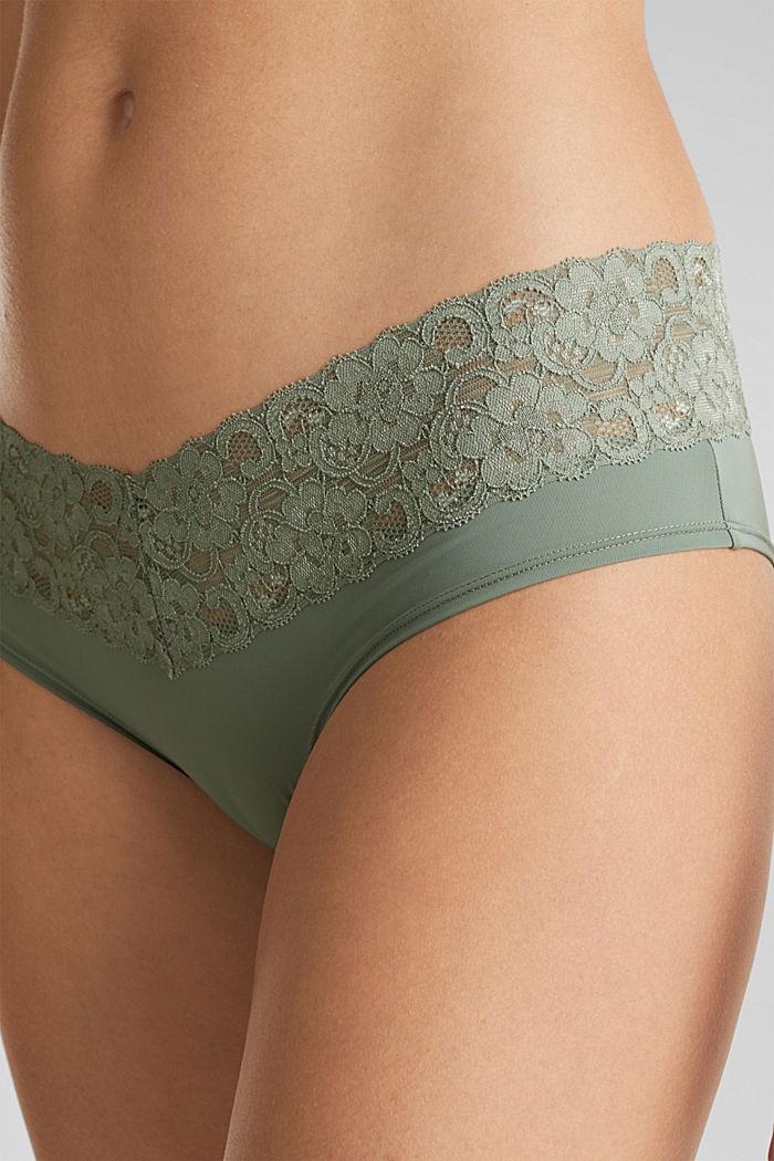 Pack de dos culottes cortos con encaje, LIGHT KHAKI, detail image number 1