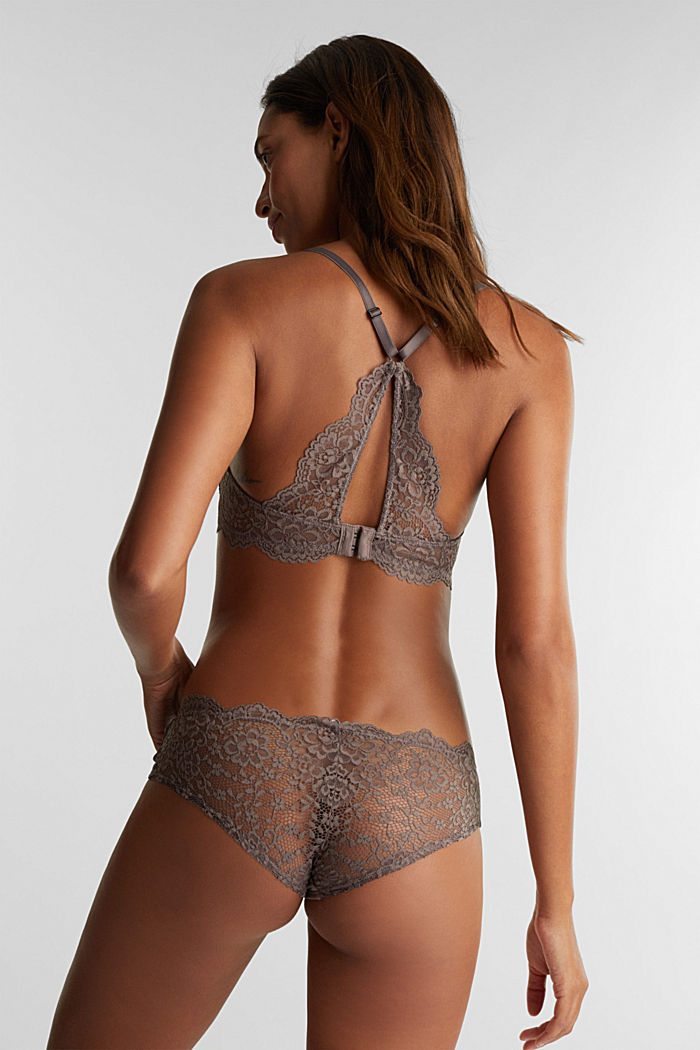 Padded underwire bra in lace, TAUPE, detail image number 1
