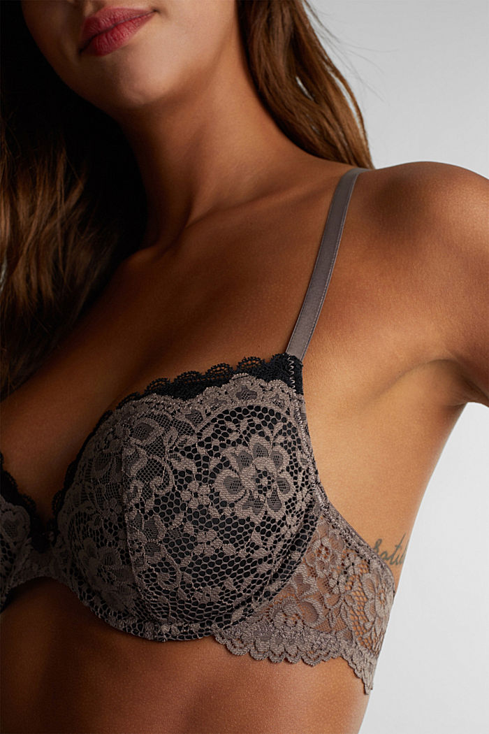 Padded underwire bra in lace, TAUPE, detail image number 2