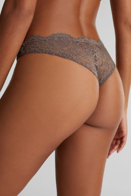 Brazilian hipster lace thong, TAUPE, detail