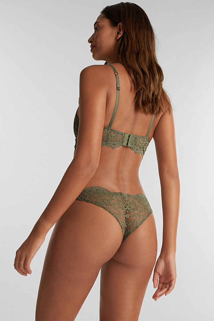 Brazilian hipster lace thong, OLIVE, detail image number 2