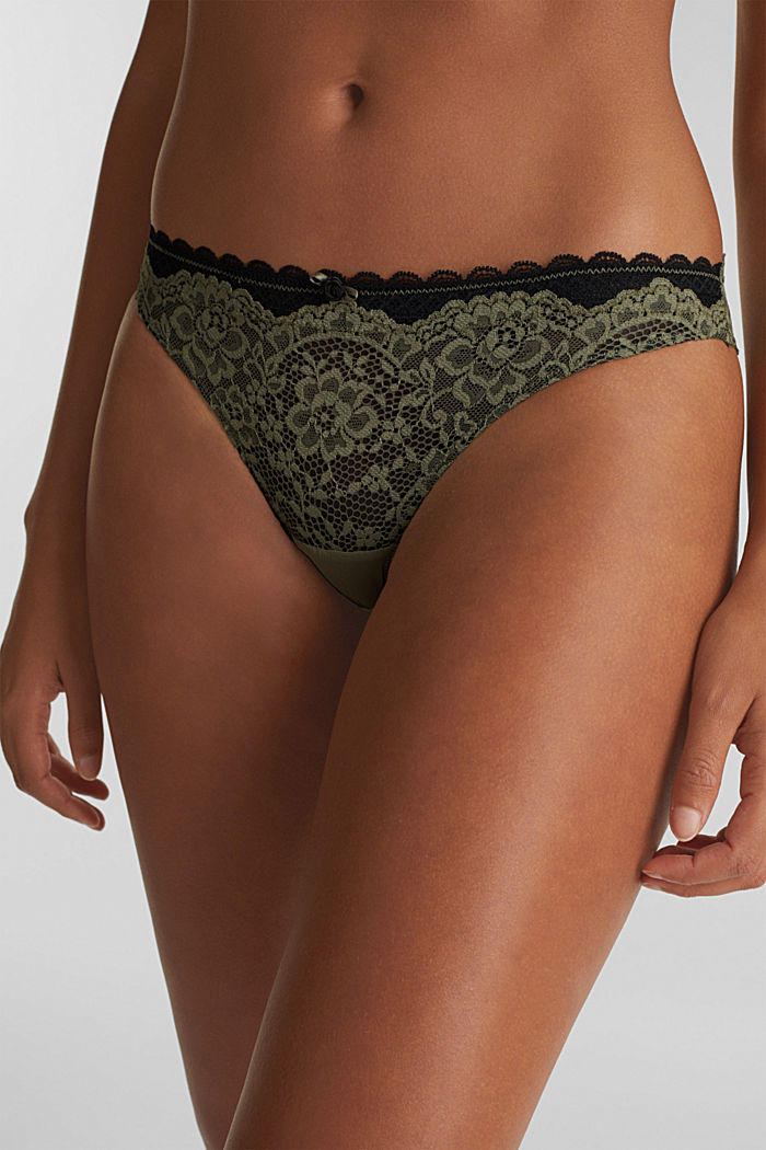 Brazilian hipster lace thong, OLIVE, detail image number 1