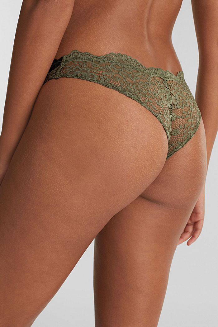 Brazilian hipster lace thong, OLIVE, detail image number 3