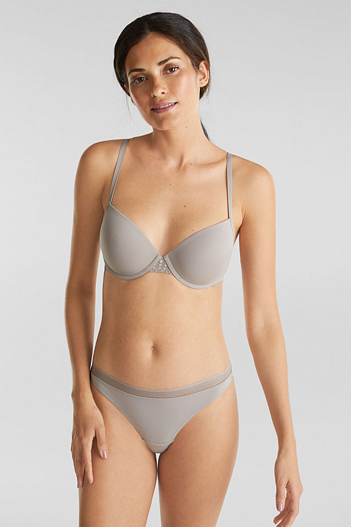 Padded underwire bra with lace, LIGHT TAUPE, detail image number 0