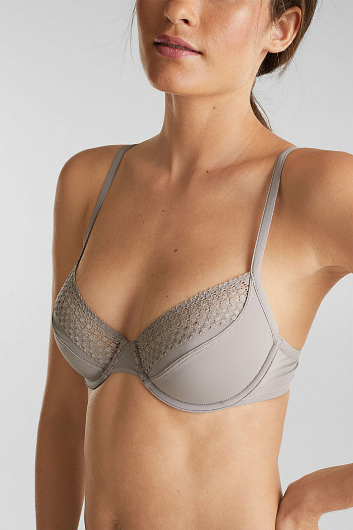 Underwire bra with lace, LIGHT TAUPE, detail image number 2