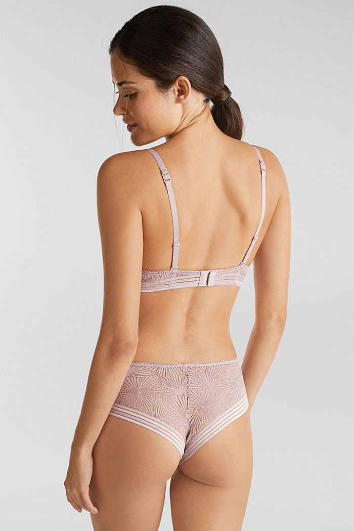 Recycled: padded underwire bra with lace, OLD PINK, detail image number 1