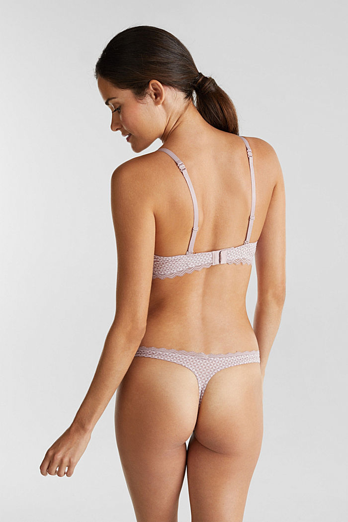 Padded underwire bra with lace, OLD PINK, detail image number 1