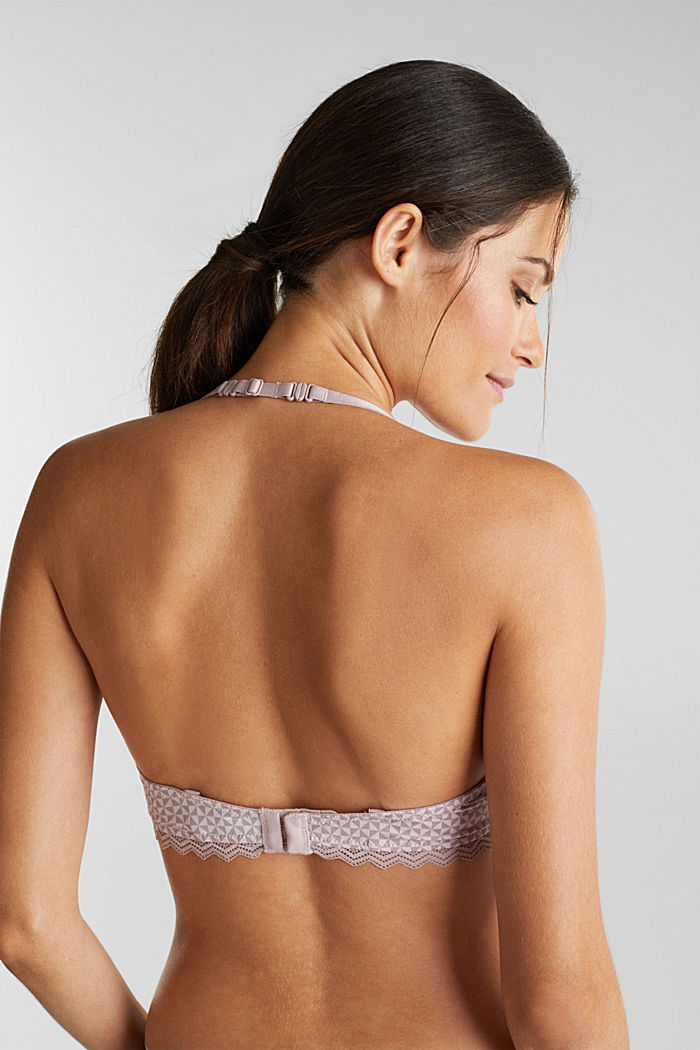 Padded underwire bra with lace, OLD PINK, detail image number 3