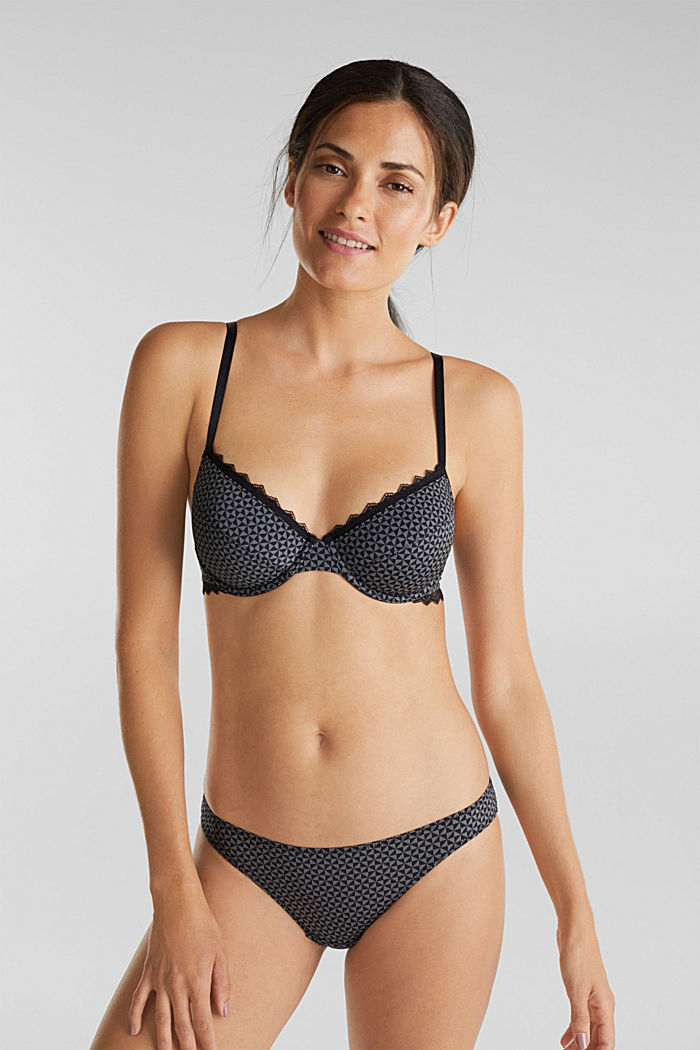 Underwire bra with lace, BLACK, detail image number 0