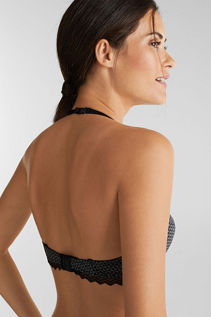 Underwire bra with lace, BLACK, detail image number 3