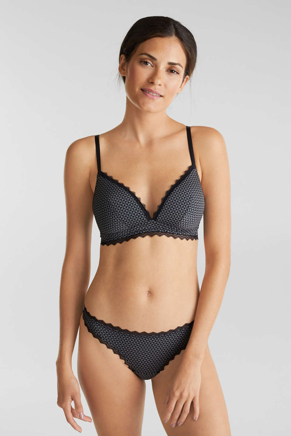 Esprit - Padded, wireless bra trimmed with lace
