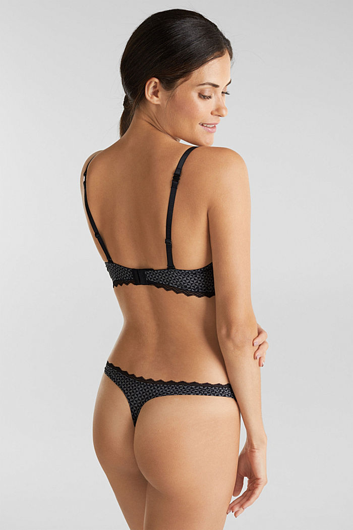 Padded, wireless bra trimmed with lace, BLACK, detail image number 1