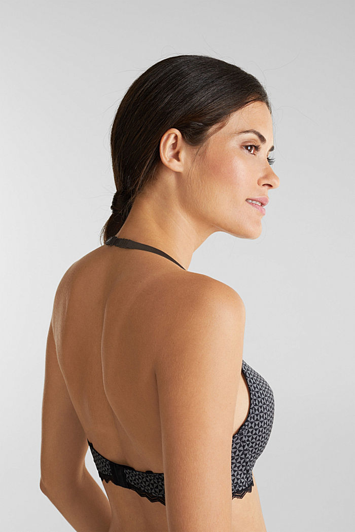 Padded, wireless bra trimmed with lace, BLACK, detail image number 3