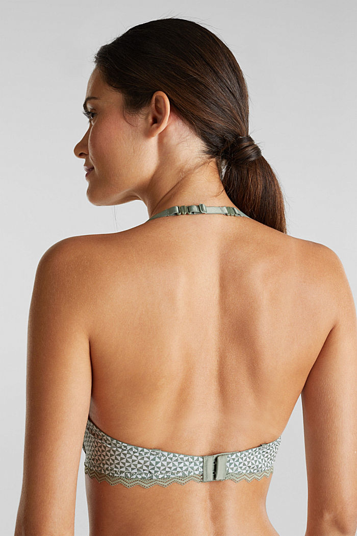 Padded, wireless bra trimmed with lace, LIGHT KHAKI, detail image number 3