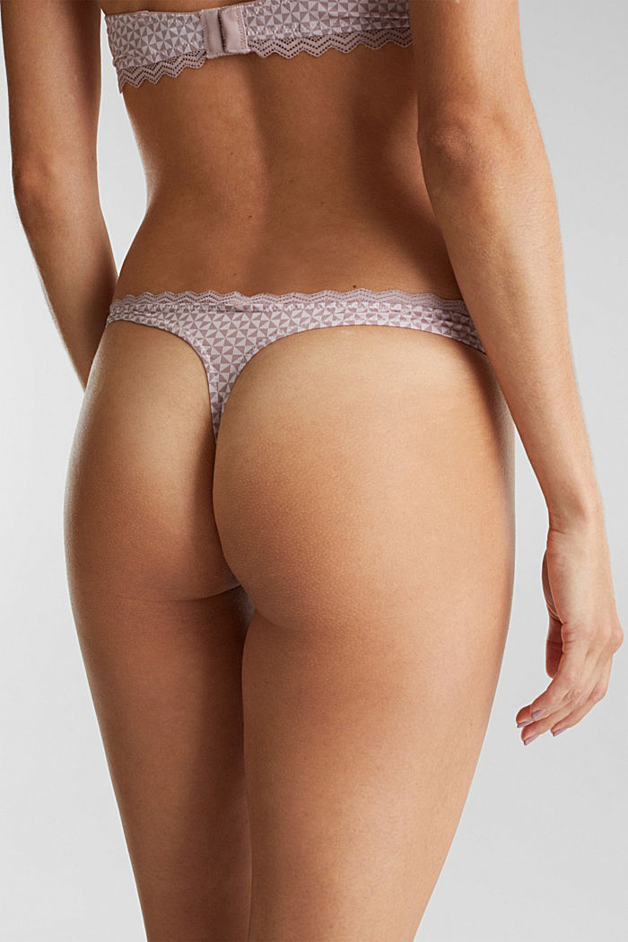 Hipster thong with lace, OLD PINK, detail image number 3