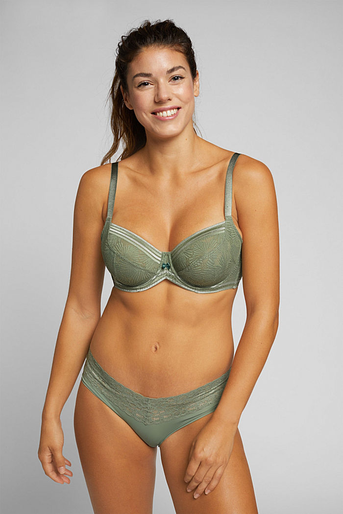 Recycled: Lace bra for larger cup sizes, LIGHT KHAKI, detail image number 0