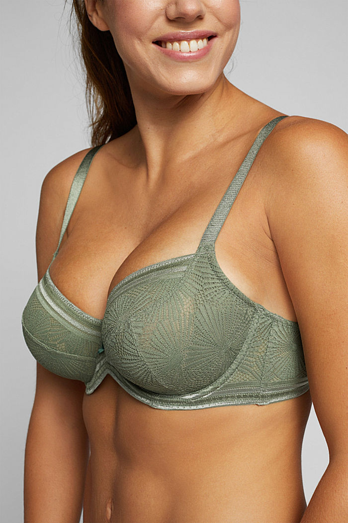 Recycled: Lace bra for larger cup sizes, LIGHT KHAKI, detail image number 2