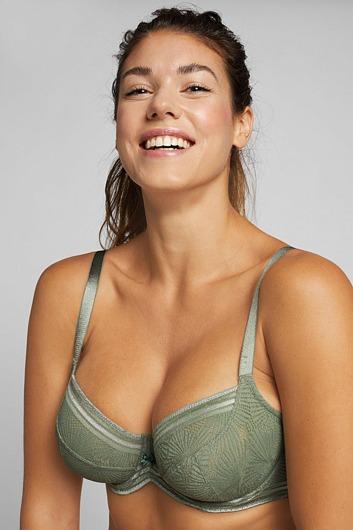 Recycled: Lace bra for larger cup sizes, LIGHT KHAKI, detail image number 4
