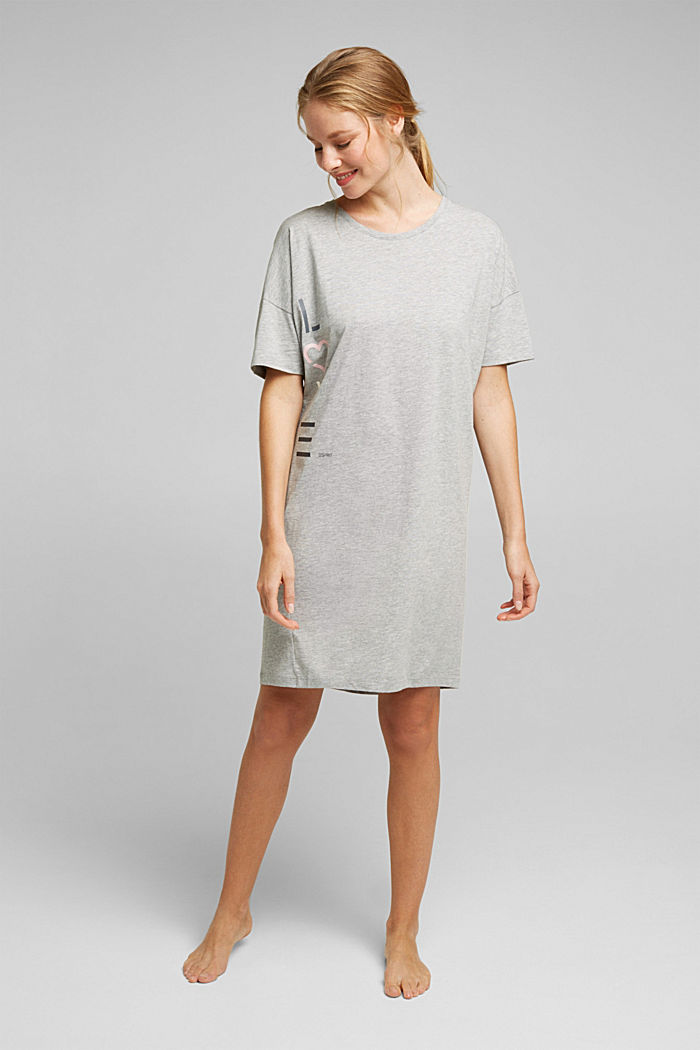 Jersey nightshirt with organic cotton, LIGHT GREY, detail image number 0