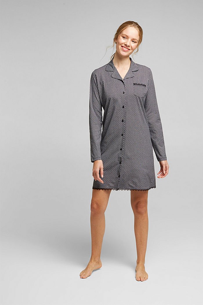 Nightshirt made of 100% organic cotton, BLACK, overview